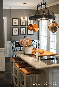 Small Kitchen Pot Rack Lighting Ideas