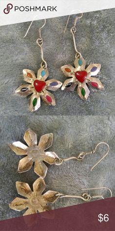 Handmade flower earrings Handmade artisan flower earrings. Used but good conditions Jewelry Earrings
