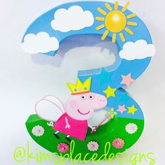 Custom Decor Letters & Party Supplies by KimsPlaceDesigns Peppa Pig Birthday Decorations, Peppa Pig Birthday Cake, 3rd Birthday Parties, 2nd Birthday, Peppa Pig Balloons, Cumple Peppa Pig, Pig Crafts, Pig Party, Party Supplies