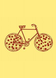Bicycle with Pepperoni Pizza Tires Art Print by Ross Zietz Pizza Tattoo, Pizza Branding, Pizza Kunst, Pizza Quotes, Pizza Life, Pizza Art, Pizza Pizza, Pizza Wheel, Tire Art