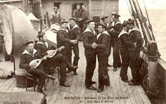 Vintage French Sailors Dancing on Board Ship Military Uniform Male Navy Sailor Early Black and White Sepia Photography Photo. More Sailors are available here: Marin Vintage, French Vintage, Vintage Men, Vintage Couples, Vintage Photographs, Vintage Images, Marine Francaise, Bond, Vintage Sailor