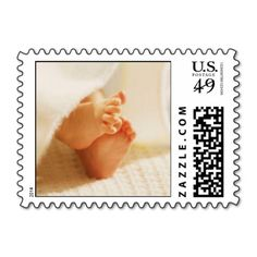 Baby Feet postage stamps, with adorable little baby feet poking out from a blanket. Perfect for baby shower invitations, baby announcements, or christening invitations! These precious stamps will definitely get the attention of anyone receiving their mail! #shower #toes #baby #feet #cute #announcement #new #baby #infant #photo #newborn #stamps #baby #postage
