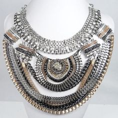 Vintage Inspired Mixed Metal Multi Strand Chain, Metal Work Statement Necklace, Swarovski Crystal Necklace, Valentines Jewelry-153423461 on Etsy, $19.99