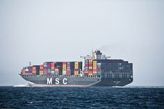 Massive Container Freighter Ship MSC TOMOKO PANAMA in the Santa Barbara Channel  8400 TEU