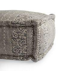 Boho Rectangle Stripe Pouf in Grey