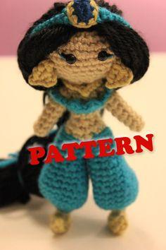 PATTERN Jasmine Disney Princess Crochet Doll Amigurumi.