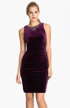 Eliza J Embellished Neck Velvet Sheath Dress available at #Nordstrom