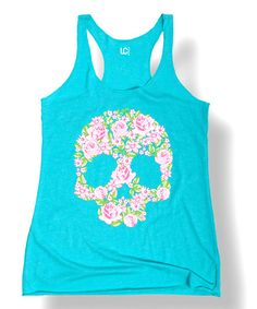 Love this Tahiti Blue Floral Skull Racerback Tank on #zulily! #zulilyfinds