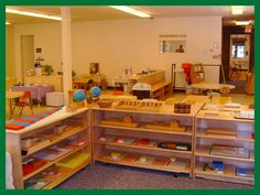 This is a clean, organized montessori classroom. A little pastel green paint would look nice on the walls, but I like it as is too! :)