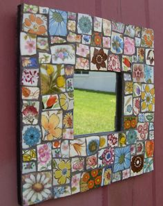 "Colorful Mosaic Mirror Frame Floral Handcut Tiles 10"" x 10"" Rustic Chic Cottage Shabby Boho Functional Art"