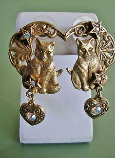 Kirks Folly Kitty Cat Earrings. Moon, Stars, Heart, Ab Rhinestones Gold-tone