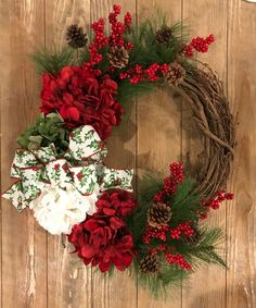 Custom Christmas Vine front door wreath, Grapevine, Hydrangea wreath, Christmas bow, Berries, Merry Halloween Front Doors, Christmas Front Doors, Christmas Bows, Wreaths For Front Door, Door Wreaths, Christmas Decorations, Holiday Decorating, Baby Boy Wreath, Candy Wreath