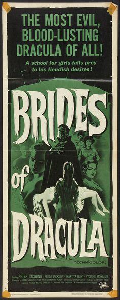 "Brides of Dracula (Universal International, 1960). Insert (14"" X 36""). Horror.  Starring Peter Cushing, Freda Jackson, Martita Hunt, Yvonne Monlaur, David Peel, Mona Washbourne, Andree Melly, and Stephanie Watts. Directed by Terence Fisher."