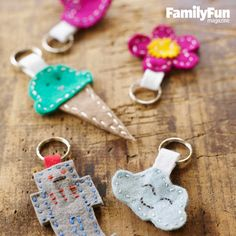 """Cute Key Rings Kids Can Make: Design your own shapes for these fobs or trace our templates inspired by Japanese kawaii (""""cute"""") style. #FamilyFunMagDay"""