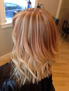 Strawberry blonde hair with platinum highlights on top and peekaboos underneath