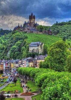 Cochem, Germany - One of my favorite castles visited. Sits high above the Mosel River and has a gorgeous town to walk around. Can't beat it on a summer day. #germanytravel