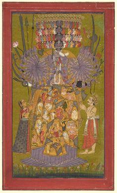 Krishna Vishvarupa, India, Himachal Pradesh, Bilaspur ca. 1740 - Opaque watercolor and gold on paper