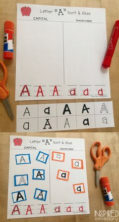 Alphabet Sorting Activity - Practice capital and lowercase letters, including letter recognition and letter printing practice. This is a no prep alphabet center ready to print and use! Abc Centers, Kindergarten Centers, Kindergarten Writing, Activity Centers, Kindergarten Classroom, Literacy Centers, Literacy Stations, Classroom Setup, Preschool Letters