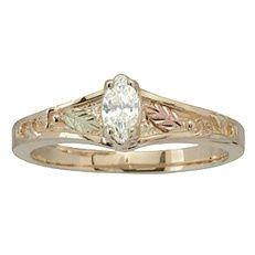 Black Gold Black Diamond Ring   Black Hills Gold Wedding Rings