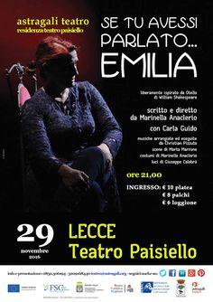 astragaliteatro: SE TU AVESSI PARLATO ... EMILIA - ALETHEIA TEATRO ...