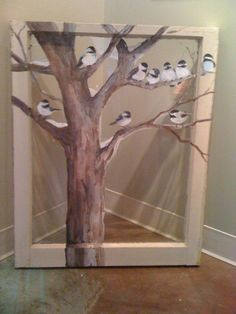 Painted window art love it Old Window Art, Window Pane Art, Window Frames, Painted Window Screens, Painted Window Art, Old Windows Painted, Wood Windows, Old Window Projects, Window Ideas