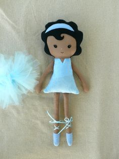 Cloth Doll Fabric Doll Blue Ballerina Black Hair by rovingovine.