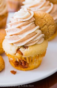 Snickerdoodle Cupcakes with Cinnamon Swirl Frosting.