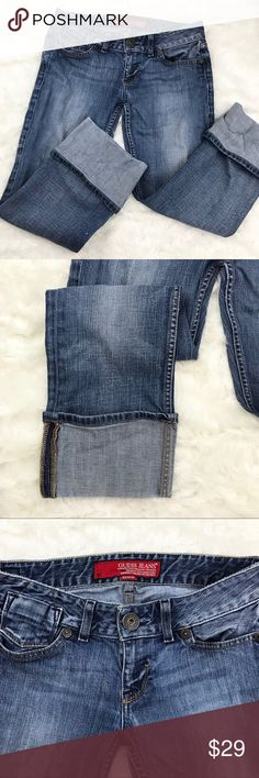 GUESS Cuffed Stretch Blue Jeans, Size 29 GUESS stretch jeans with a large, retro cuff. Cute and casual. M  CONDITION Excellent used condition! One small spot of discoloration on back of leg and small scratch on thigh (see picture 5). Slight wear on waistband (see picture 6).   MATERIALS 99% Cotton 1% Spandex  Freshly washed with hypoallergenic, unscented soap.   • ALL OFFERS WELCOME! • Lowballs don't offend me. I'm happy to negotiate ☺️   Don't forget that bundles of 3+ get 15% off! Guess…