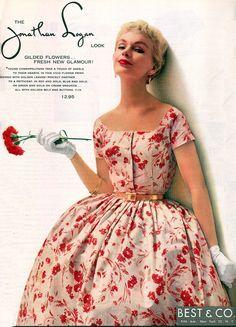 1954 Jonathon Logan dress color photo print ad model magazine red white floral day full skirt cocktail 50s