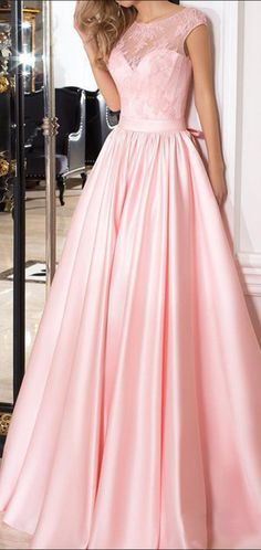A-Line Scoop Neckline Cap Sleeves Pink Long Prom Dresses With Lace Prom Dresses Pink, Prom Dresses Long, A-Line Prom Dresses, Prom Dresses Lace, Prom Dress Prom Dresses Long Colorful Prom Dresses, Prom Dresses Long Pink, A Line Prom Dresses, Mermaid Evening Dresses, Dress Prom, Maxi Dresses, Graduation Dresses Long, Dress Outfits, Homecoming Dresses