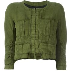 Haider Ackermann pocketed raw edge cropped jacket (4.410 HRK) ❤ liked on Polyvore featuring outerwear, jackets, green, pocket jacket, green cropped jacket, haider ackermann, green jacket and cropped jacket