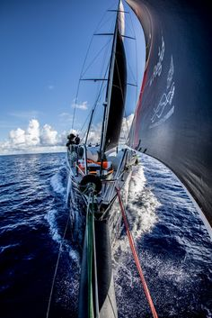 Leg 4, Melbourne to Hong Kong, day 10 View from the bowsprit on board Sun Hung Kai/Scallywag. Photo by Konrad Frost/Volvo Ocean Race. 11 January, 2018.