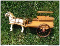 jouet bois cheval charette (lenoble sous reserve)