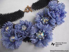 Purple flowers beaded necklace