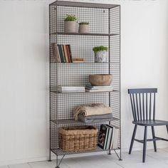 The industrial portobello shelving unit is crafted from steel mesh, with five shelves of equal heights. Wire Pantry Shelves, Metal Shelves, Metal Bookcase, Wooden Shelving Units, Kitchen Shelving Units, Shelf Units, Industrial Bedroom Furniture, Lounge Furniture, Industrial Style Bedroom