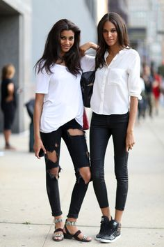 LEFT: white baggy tee, washed black rip skinny boyfriend jeans, sandals/birkenstocks, hair - relaxed and soft