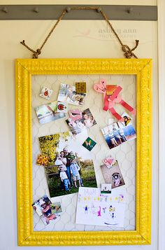 frame w/chicken wire. I already have the yellow frame but it has cork behind it. I like this better.
