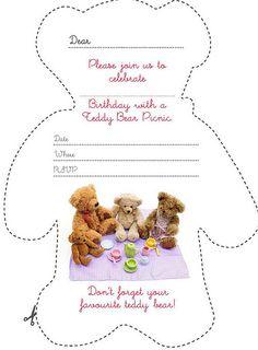 Free Kids Party Invitations Teddy Bears Picnic Invitation