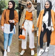 orange looks-Mixing and matching hijabi outfits – Just Trendy Girls Modern Hijab Fashion, Street Hijab Fashion, Islamic Fashion, Muslim Fashion, Street Outfit, Modest Fashion, Hijab Casual, Hijab Chic, Hijab Outfit