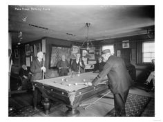 Group of Gentlemen Playing Pool at Billiards Hall Photograph Prints by Lantern Press at AllPosters.com