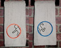 Portal Aperture Laboratories bathroom towels by QuantumStitching - Cute Geek Gift!  Could probably make this