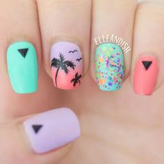 Matte Palm Tree Nail Tutorial - YouTube