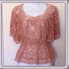 Boho Floral Lace Crochet Butterfly Top Beautifully detailed peach floral patterns woven in lace and crotched around the boat neck front, bottom and sleeves. Lightly worn. By XXI. Size S. XXI Tops