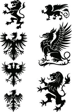 Heraldry ornament set, with griffin,eagle and lion,black colored. by Milen , via Shutterstock Greif Tattoo, Griffin Tattoo, Tattoo No Peito, Airbrush Tattoo, Lion Tattoo, Gryphon Tattoo, Crests, Animal Logo, Coat Of Arms