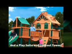 The Woodbridge playset is a large wooden set with lots of play options!