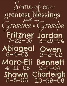 Looking for a gift for the grandparent that has everything? Give them this sign and an orphan is fed for a MONTH!! PERSONALIZED Grandchildren Birthdates Sign by EstSignsFeedsOrphans, $40.00