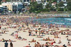 A crowded Bondi beach on a summer's day. Sydney, NSW. Australia.