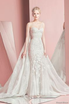 zuhair murad spring summer 2016 bridal strapless sweetheart neckline lace embroidery white sheath wedding dress petra with cape watteau train