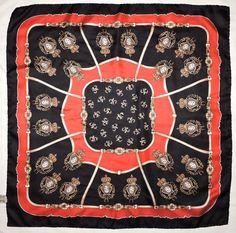 "Vintage Royal HERALDIC Classic FLEUR-DE-LIS Lily Red Black Twill Silk 28"" Scarf #Vintage #Scarf #Casual"