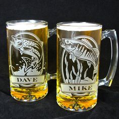 2 Personalized Fish Beer Steins, Etched Glass Trout and Bass, Gift for Anglers / Fisherman - available at:  www.BradGoodellWeddings.com